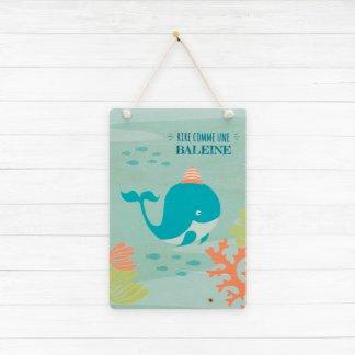 Carte baleine imprimée sur bois pour chambre d'enfant