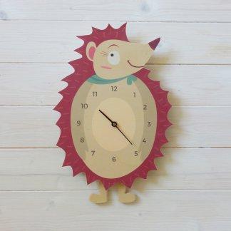 Horloge hérisson en bois