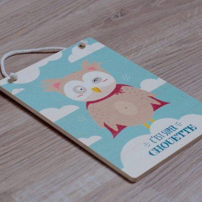 """Carte en bois expression """"c'est super chouette"""""""