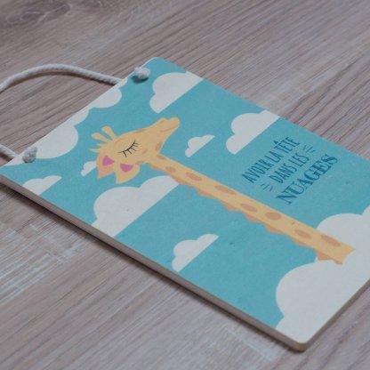 """Carte en bois Girafe """"Avoir la tête dans les nuages"""""""