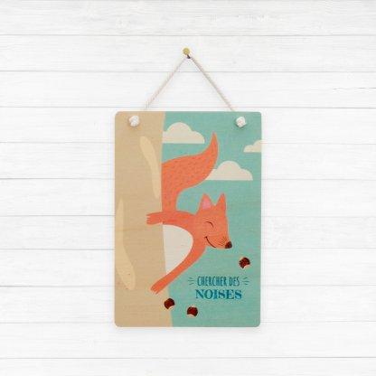 Carte imprimée sur bois écureuil