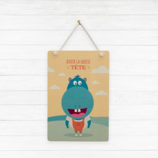 "Carte hippopotame ""Avoir la grosse tête"""