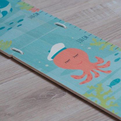 Toise imprimée sur bois sur le thème de la mer