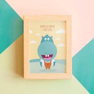 Carte postale déco hippopotame